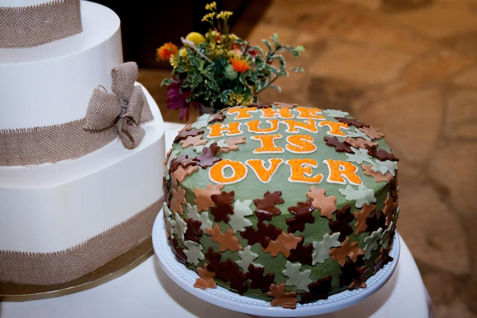 Surprise grooms cake in honor of his love for hunting